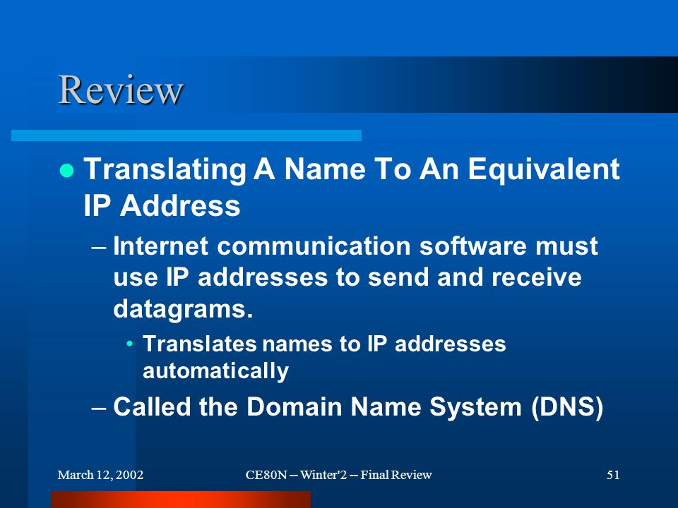 March 12, 2002CE80N -- Winter 2 -- Final Review51 Review Translating A Name To An Equivalent IP Address –Internet communication software must use IP addresses to send and receive datagrams.