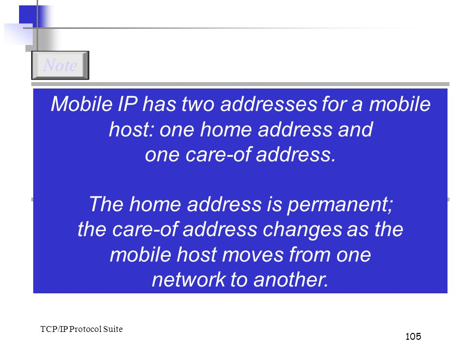 TCP/IP Protocol Suite 105 Mobile IP has two addresses for a mobile host: one home address and one care-of address. The home address is permanent; the