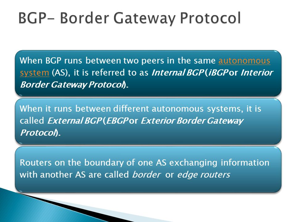 When BGP runs between two peers in the same autonomous system (AS), it is referred to as Internal BGP (iBGP or Interior Border Gateway Protocol).auton