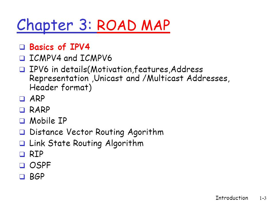 Introduction1-3 Chapter 3: ROAD MAP  Basics of IPV4  ICMPV4 and ICMPV6  IPV6 in details(Motivation,features,Address Representation,Unicast and /Mul
