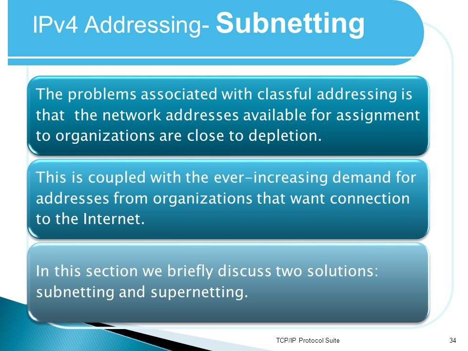 TCP/IP Protocol Suite34 IPv4 Addressing- Subnetting The problems associated with classful addressing is that the network addresses available for assig