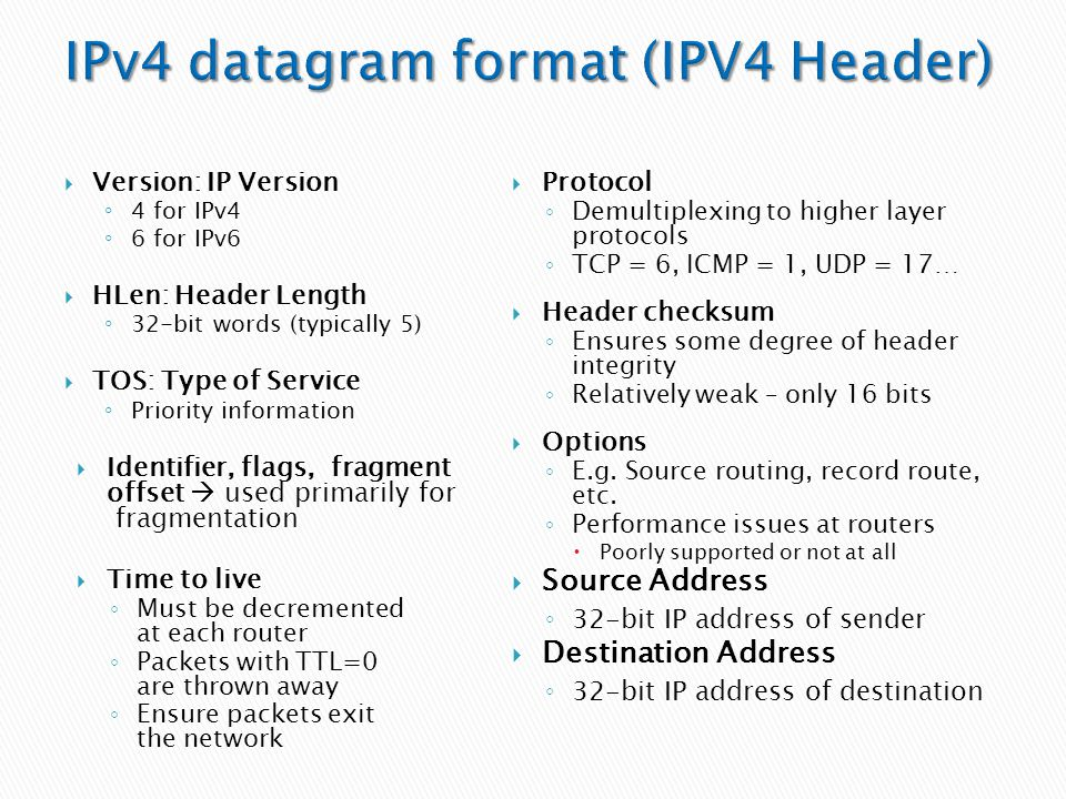  Version: IP Version ◦ 4 for IPv4 ◦ 6 for IPv6  HLen: Header Length ◦ 32-bit words (typically 5)  TOS: Type of Service ◦ Priority information  Ide