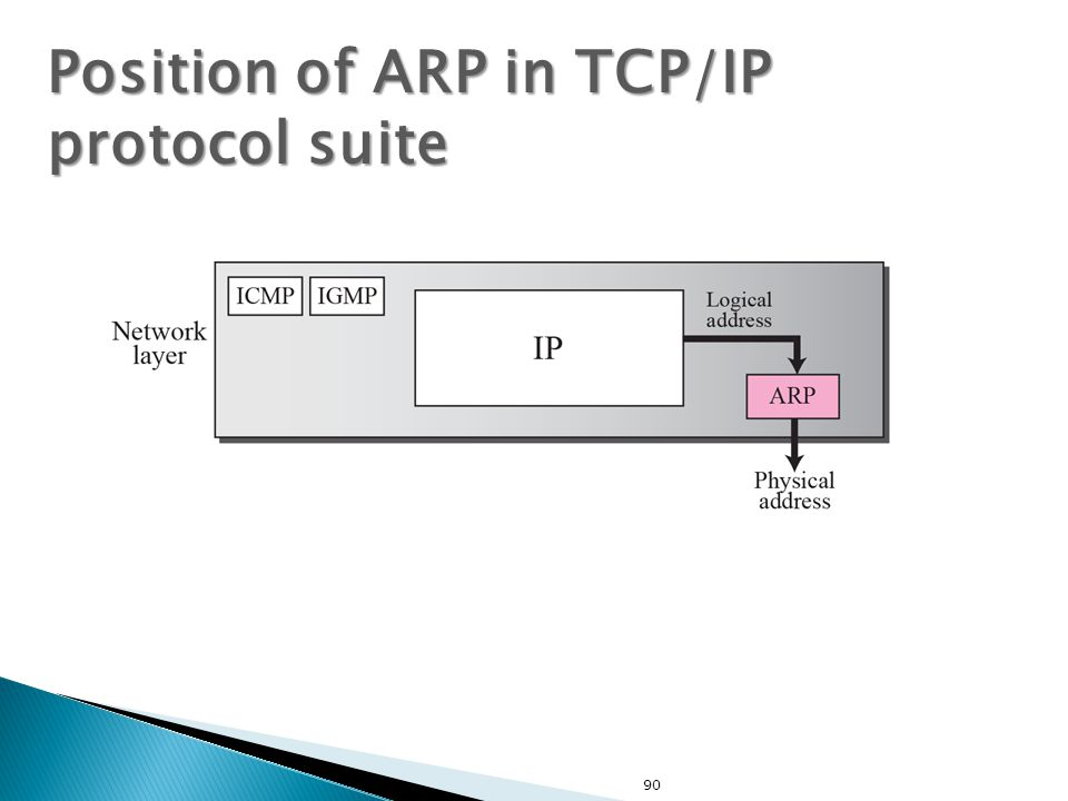 90 Position of ARP in TCP/IP protocol suite