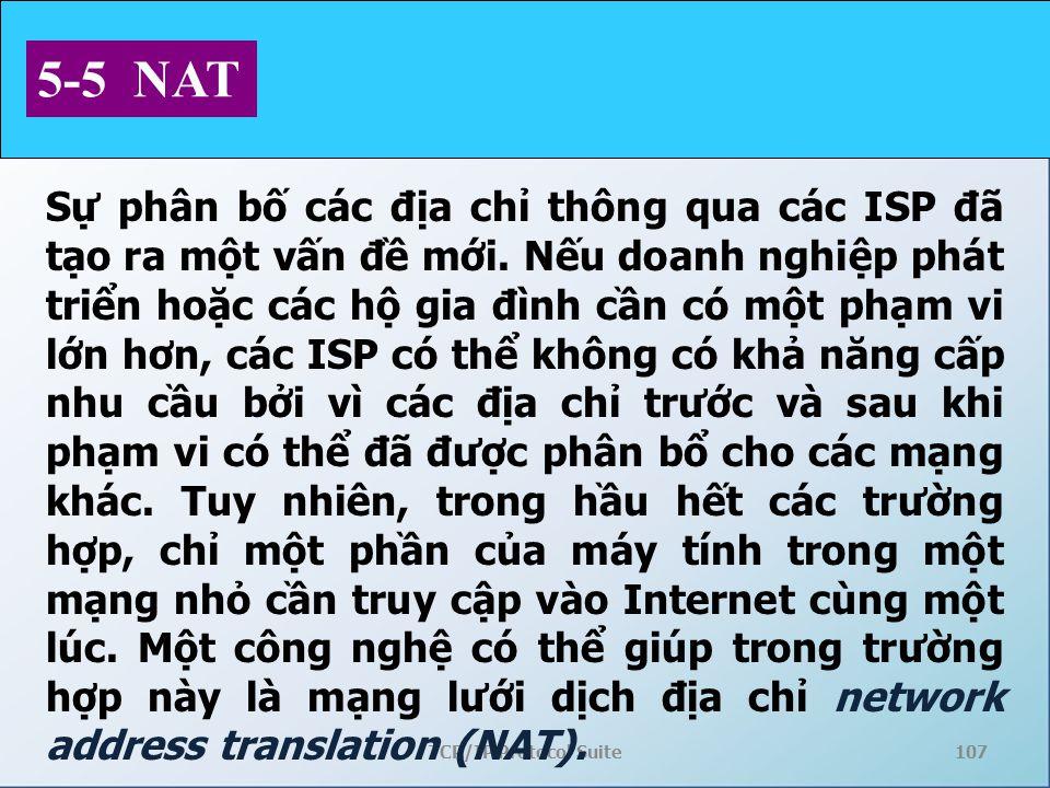 TCP/IP Protocol Suite107 5-5 NAT Sự phân bố các địa chỉ thông qua các ISP đã tạo ra một vấn đề mới. Nếu doanh nghiệp phát triển hoặc các hộ gia đình c