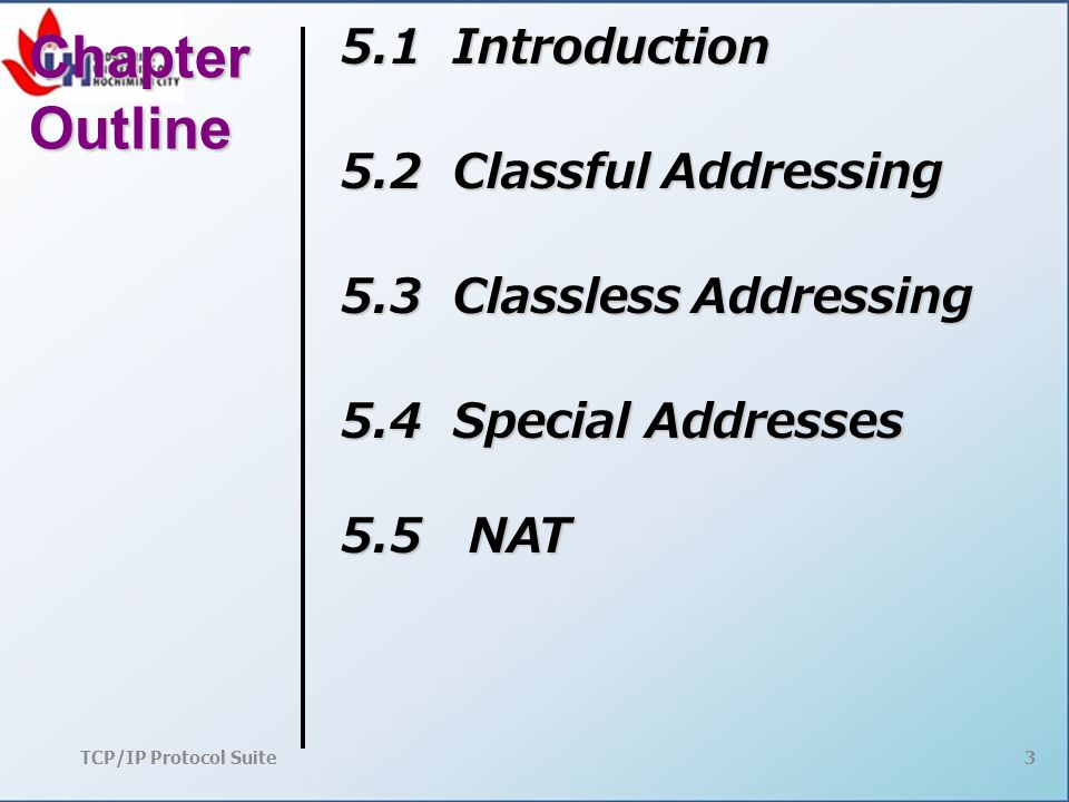 TCP/IP Protocol Suite 3 Chapter Outline 5.1 Introduction 5.2 Classful Addressing 5.3 Classless Addressing 5.4 Special Addresses 5.5 NAT