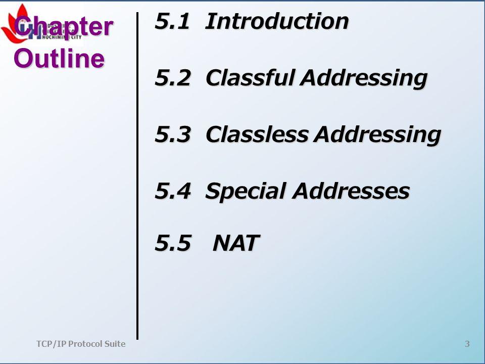 TCP/IP Protocol Suite4 5-1 INTRODUCTION Các định danh được sử dụng trong các lớp IP của bộ giao thức TCP / IP để xác định từng thiết bị kết nối Internet được gọi là địa chỉ Internet hoặc địa chỉ IP.