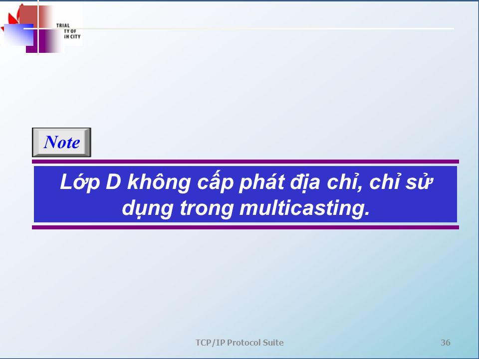 TCP/IP Protocol Suite36 Lớp D không cấp phát địa chỉ, chỉ sử dụng trong multicasting. Note