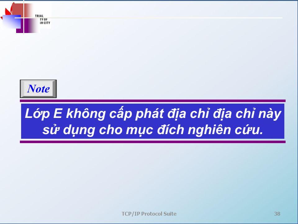 TCP/IP Protocol Suite38 Lớp E không cấp phát địa chỉ địa chỉ này sử dụng cho mục đích nghiên cứu. Note
