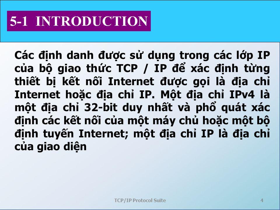 TCP/IP Protocol Suite4 5-1 INTRODUCTION Các định danh được sử dụng trong các lớp IP của bộ giao thức TCP / IP để xác định từng thiết bị kết nối Intern