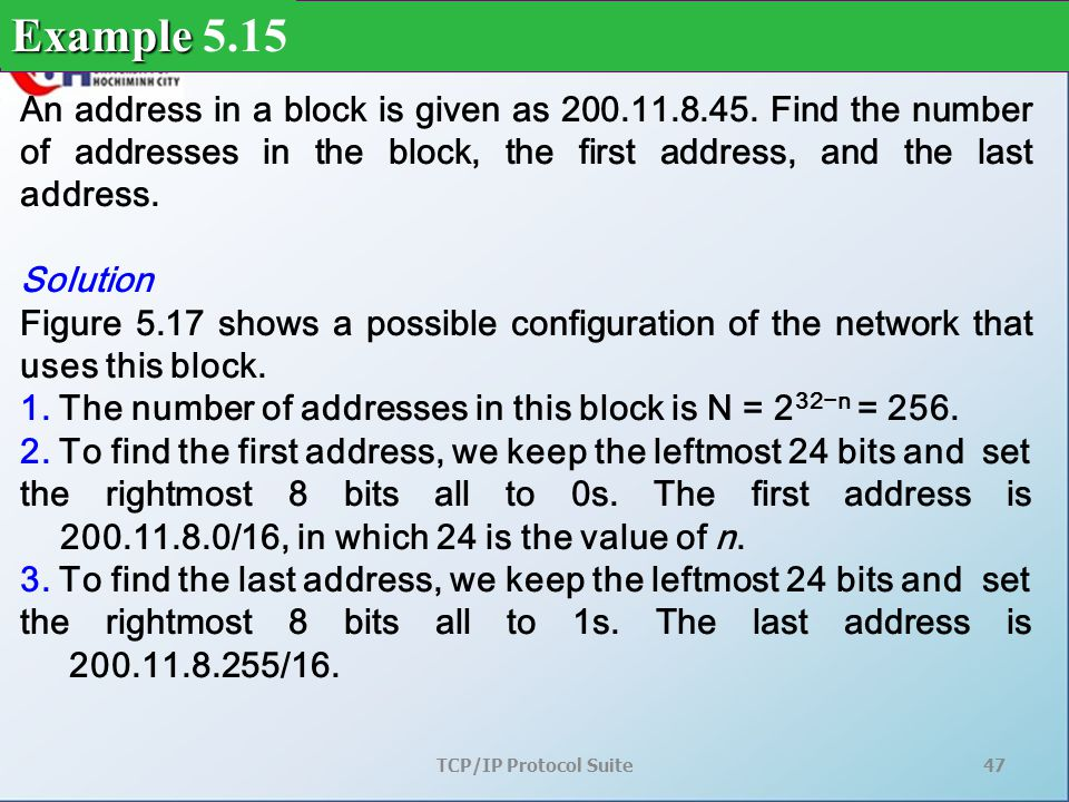 TCP/IP Protocol Suite47 An address in a block is given as 200.11.8.45.
