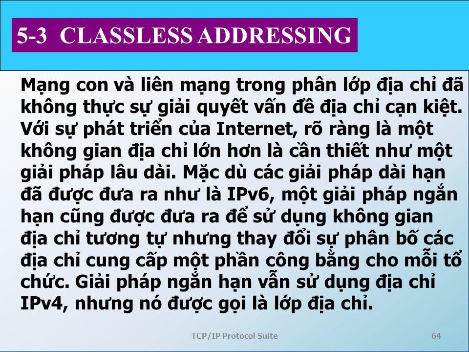 TCP/IP Protocol Suite64 5-3 CLASSLESS ADDRESSING Mạng con và liên mạng trong phân lớp địa chỉ đã không thực sự giải quyết vấn đề địa chỉ cạn kiệt. V