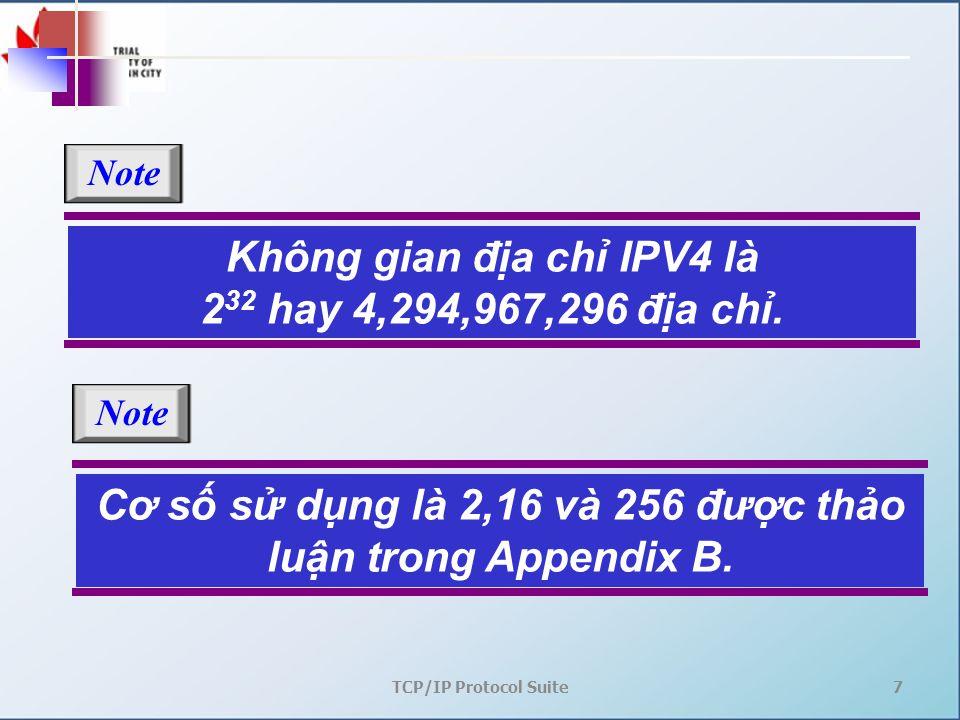 TCP/IP Protocol Suite7 Không gian địa chỉ IPV4 là 2 32 hay 4,294,967,296 địa chỉ. Note Cơ số sử dụng là 2,16 và 256 được thảo luận trong