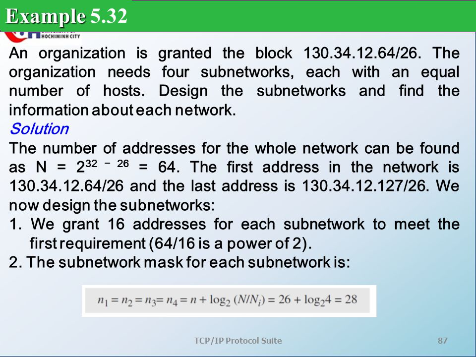 TCP/IP Protocol Suite87 An organization is granted the block 130.34.12.64/26.