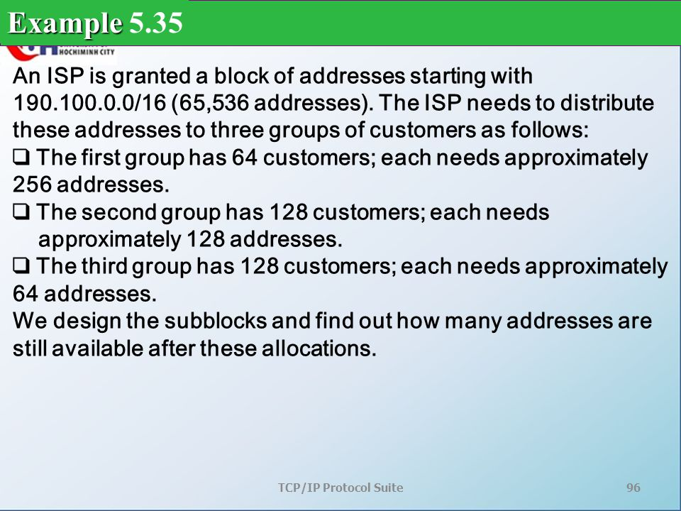 TCP/IP Protocol Suite96 An ISP is granted a block of addresses starting with 190.100.0.0/16 (65,536 addresses).