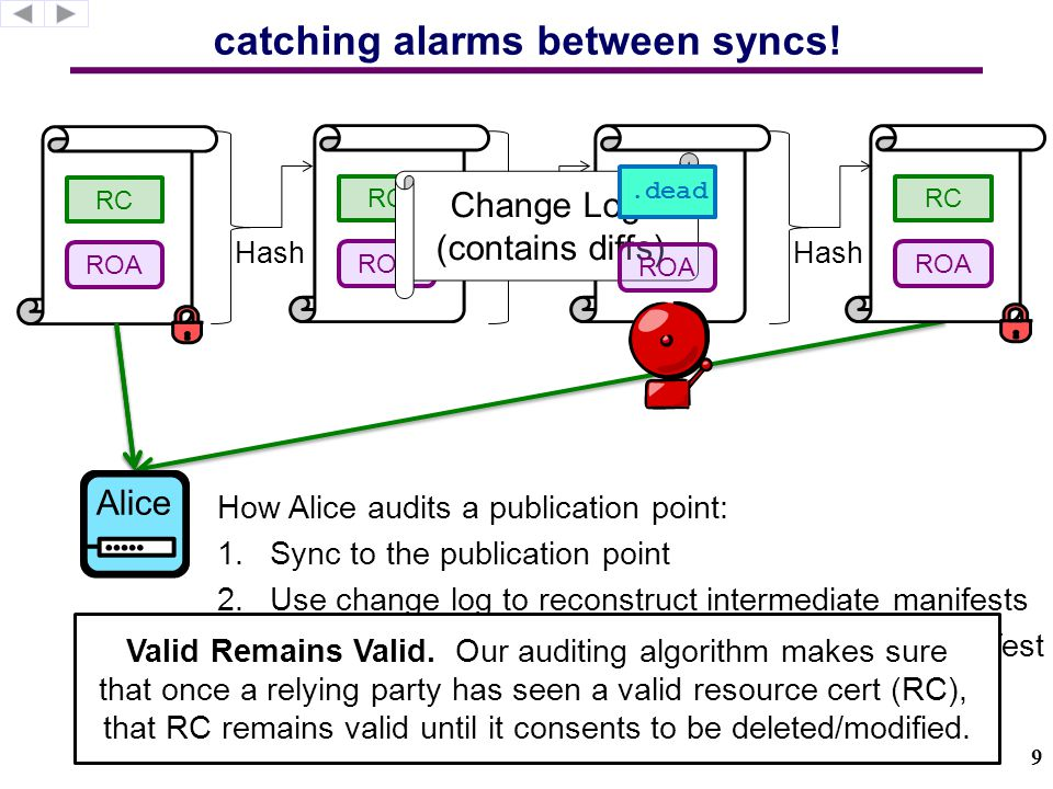 catching alarms between syncs.