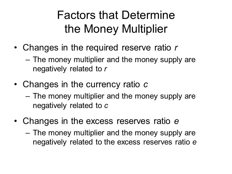 Factors that Determine the Money Multiplier Changes in the required reserve ratio r –The money multiplier and the money supply are negatively related