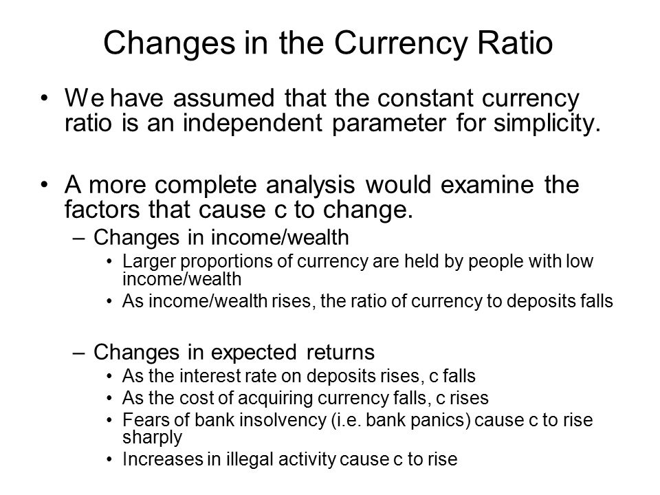 Changes in the Currency Ratio We have assumed that the constant currency ratio is an independent parameter for simplicity. A more complete analysis wo