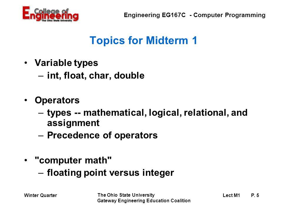 Engineering EG167C - Computer Programming The Ohio State University Gateway Engineering Education Coalition Lect M1 P.