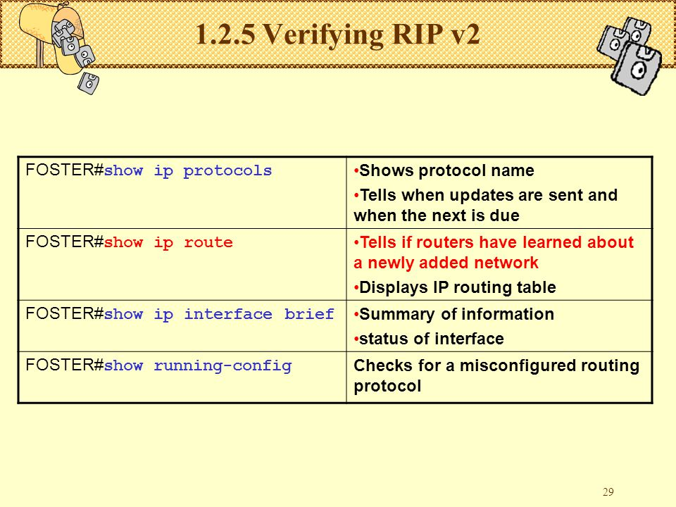 29 1.2.5 Verifying RIP v2 FOSTER# show ip protocols Shows protocol name Tells when updates are sent and when the next is due FOSTER# show ip route Tells if routers have learned about a newly added network Displays IP routing table FOSTER# show ip interface brief Summary of information status of interface FOSTER# show running-config Checks for a misconfigured routing protocol