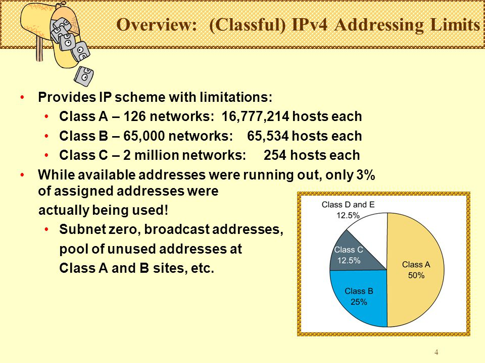 4 Overview: (Classful) IPv4 Addressing Limits Provides IP scheme with limitations: Class A – 126 networks: 16,777,214 hosts each Class B – 65,000 networks: 65,534 hosts each Class C – 2 million networks: 254 hosts each While available addresses were running out, only 3% of assigned addresses were actually being used.
