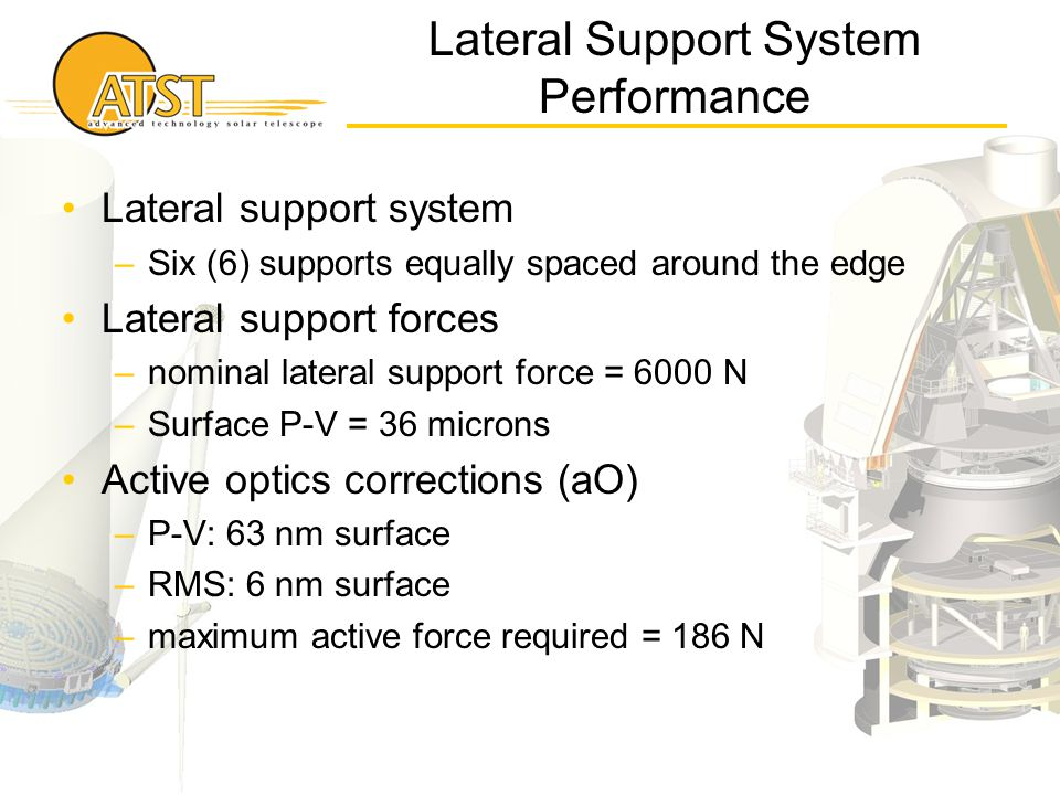 Lateral Support System Performance Lateral support system –Six (6) supports equally spaced around the edge Lateral support forces –nominal lateral sup