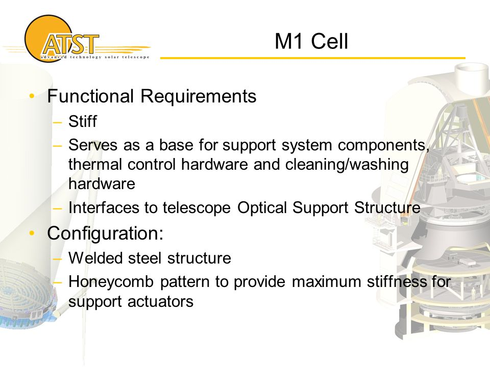 M1 Cell Functional Requirements –Stiff –Serves as a base for support system components, thermal control hardware and cleaning/washing hardware –Interf
