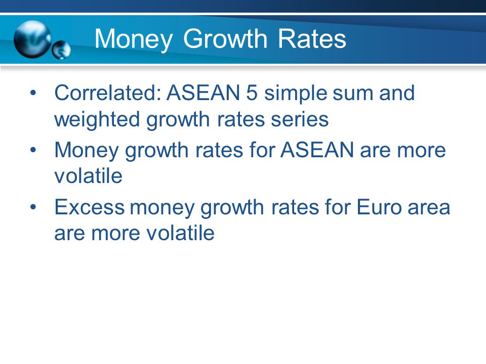 Money Growth Rates Correlated: ASEAN 5 simple sum and weighted growth rates series Money growth rates for ASEAN are more volatile Excess money growth rates for Euro area are more volatile