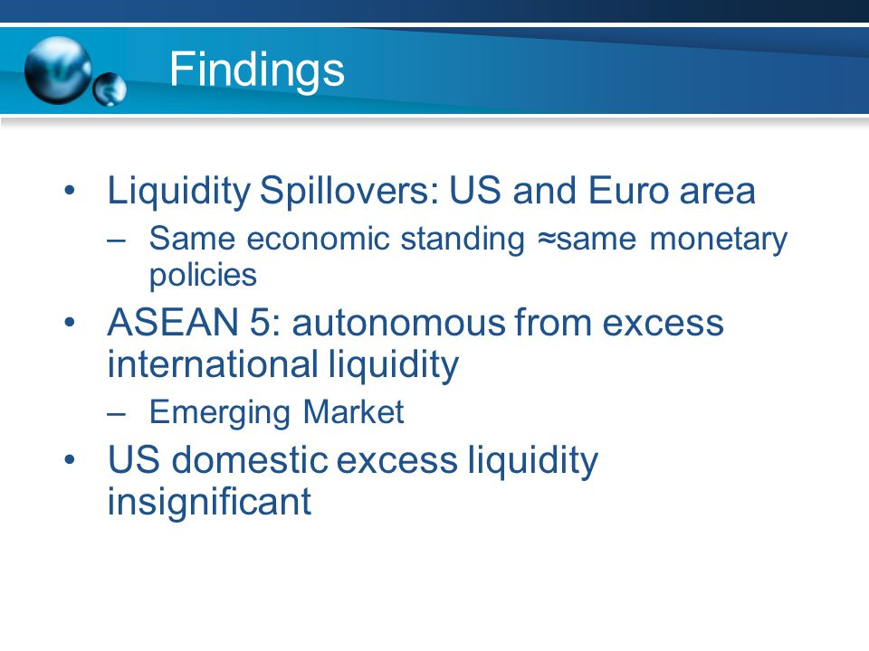Findings Liquidity Spillovers: US and Euro area –Same economic standing ≈same monetary policies ASEAN 5: autonomous from excess international liquidity –Emerging Market US domestic excess liquidity insignificant