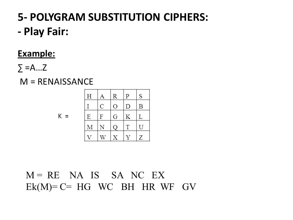 Example: ∑ =A…Z M = RENAISSANCE 5- POLYGRAM SUBSTITUTION CIPHERS: - Play Fair: HARPS ICODB EFGKL MNQTU VWXYZ K = M = RE NA IS SA NC EX Ek(M)= C= HG WC BH HR WF GV