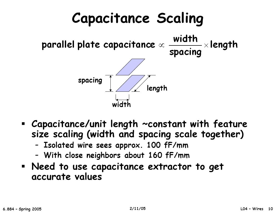 L04 – Wires 10 6.884 – Spring 2005 2/11/05 Capacitance Scaling  Capacitance/unit length ~constant with feature size scaling (width and spacing scale together) –Isolated wire sees approx.