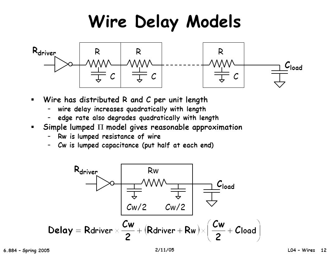 L04 – Wires 12 6.884 – Spring 2005 2/11/05 Wire Delay Models  Wire has distributed R and C per unit length –wire delay increases quadratically with length –edge rate also degrades quadratically with length  Simple lumped  model gives reasonable approximation –Rw is lumped resistance of wire –Cw is lumped capacitance (put half at each end) R C R C R C R driver C load Rw Cw/2 R driver C load