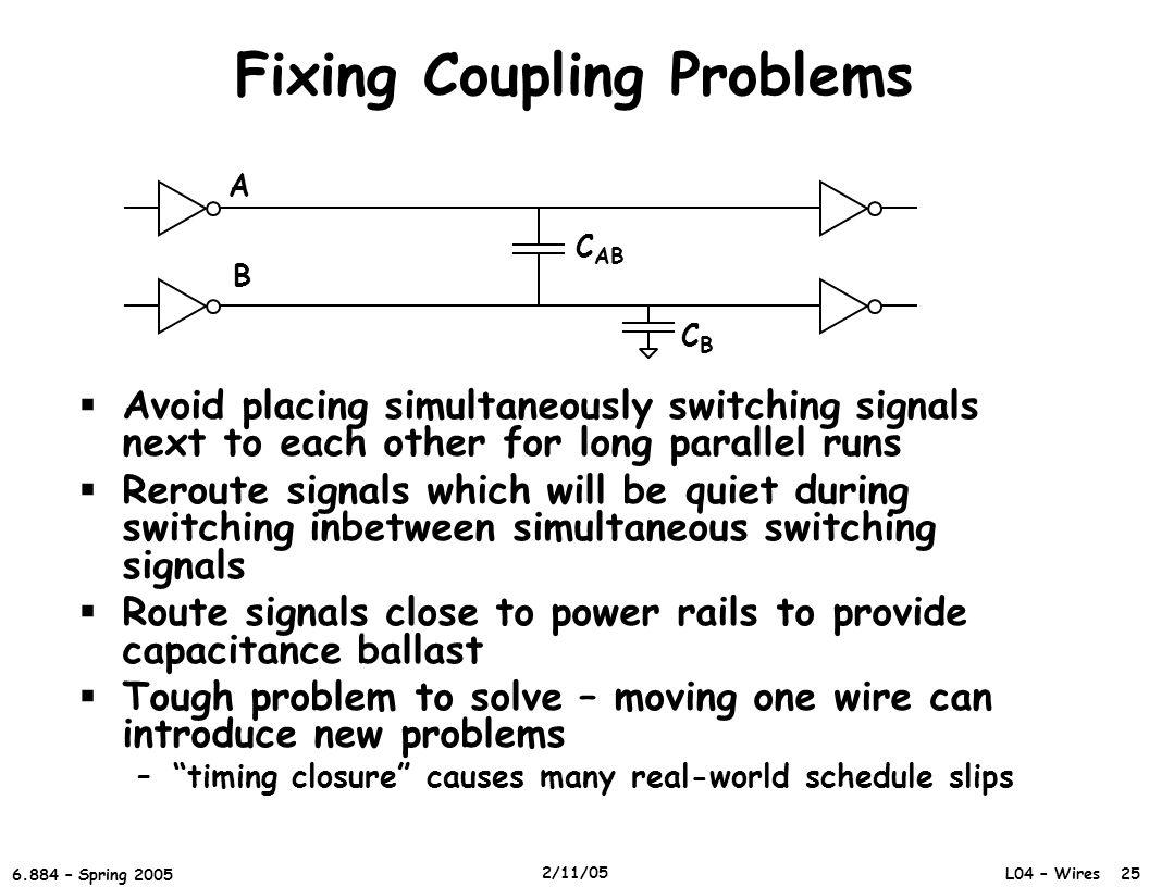 L04 – Wires 25 6.884 – Spring 2005 2/11/05 Fixing Coupling Problems  Avoid placing simultaneously switching signals next to each other for long parallel runs  Reroute signals which will be quiet during switching inbetween simultaneous switching signals  Route signals close to power rails to provide capacitance ballast  Tough problem to solve – moving one wire can introduce new problems – timing closure causes many real-world schedule slips A B C AB CBCB