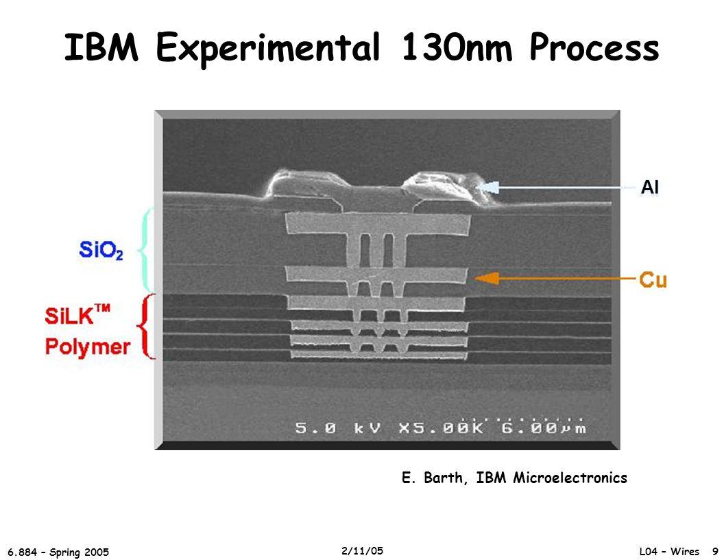 L04 – Wires 9 6.884 – Spring 2005 2/11/05 IBM Experimental 130nm Process E.