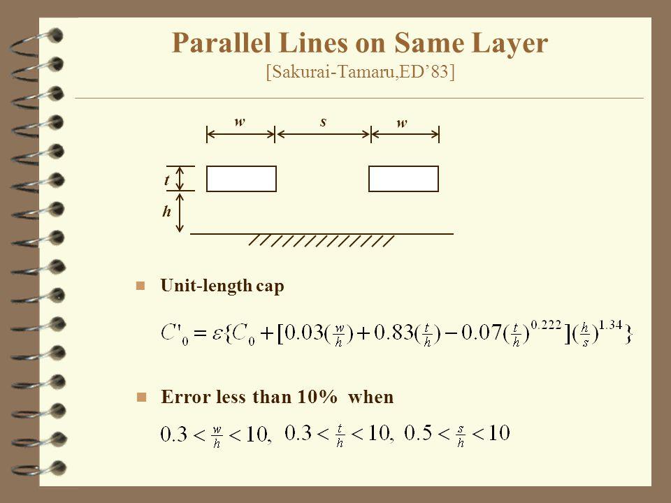 Parallel Lines on Same Layer [Sakurai-Tamaru,ED'83] w w s t h n Unit-length cap n Error less than 10% when