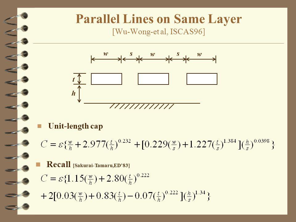 Parallel Lines on Same Layer [Wu-Wong-et al, ISCAS96] w w s t h n Unit-length cap n Recall [Sakurai-Tamaru,ED'83] w s