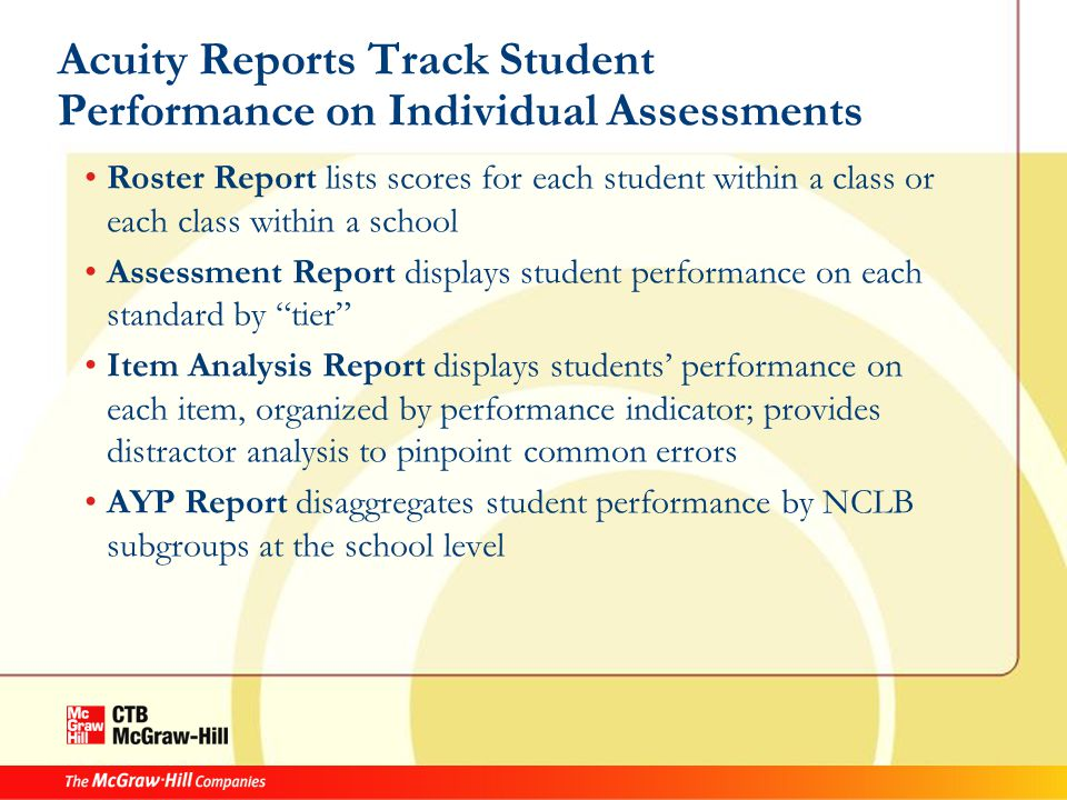 Acuity Reports Track Student Performance on Individual Assessments Roster Report lists scores for each student within a class or each class within a school Assessment Report displays student performance on each standard by tier Item Analysis Report displays students' performance on each item, organized by performance indicator; provides distractor analysis to pinpoint common errors AYP Report disaggregates student performance by NCLB subgroups at the school level