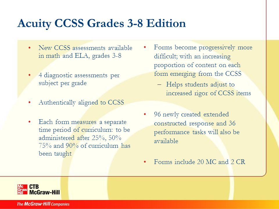 Acuity CCSS Grades 3-8 Edition New CCSS assessments available in math and ELA, grades 3-8 4 diagnostic assessments per subject per grade Authentically aligned to CCSS Each form measures a separate time period of curriculum: to be administered after 25%, 50% 75% and 90% of curriculum has been taught Forms become progressively more difficult; with an increasing proportion of content on each form emerging from the CCSS – Helps students adjust to increased rigor of CCSS items 96 newly created extended constructed response and 36 performance tasks will also be available Forms include 20 MC and 2 CR