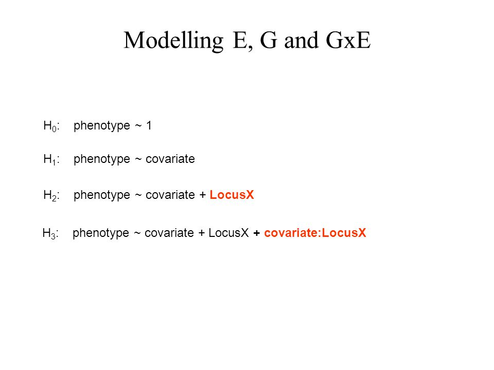 Modelling E, G and GxE H 1 : phenotype ~ covariate H 2 : phenotype ~ covariate + LocusX H 3 : phenotype ~ covariate + LocusX + covariate:LocusX H 0 : phenotype ~ 1