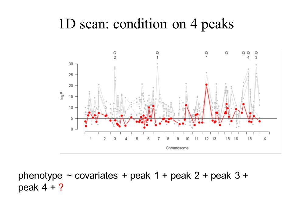 1D scan: condition on 4 peaks phenotype ~ covariates + peak 1 + peak 2 + peak 3 + peak 4 + ?