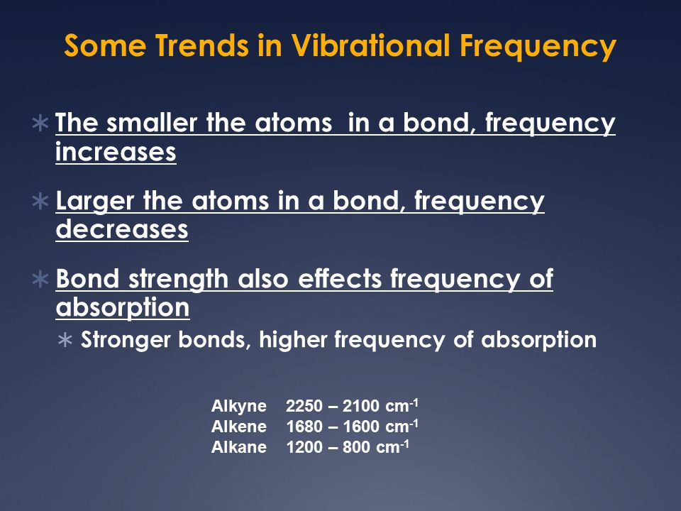 Some Trends in Vibrational Frequency  The smaller the atoms in a bond, frequency increases  Larger the atoms in a bond, frequency decreases  Bond s