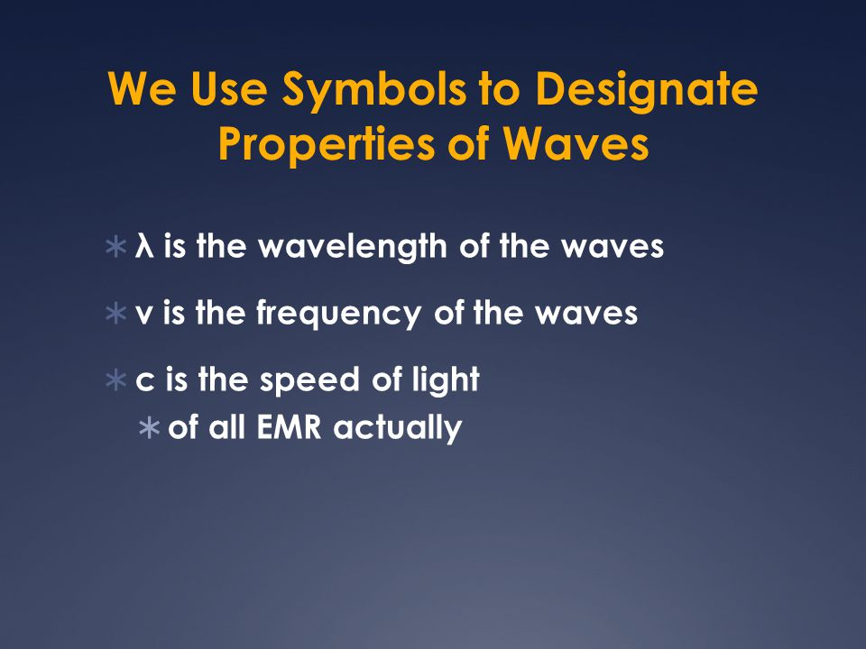 We Use Symbols to Designate Properties of Waves  λ is the wavelength of the waves  ν is the frequency of the waves  c is the speed of light  of al