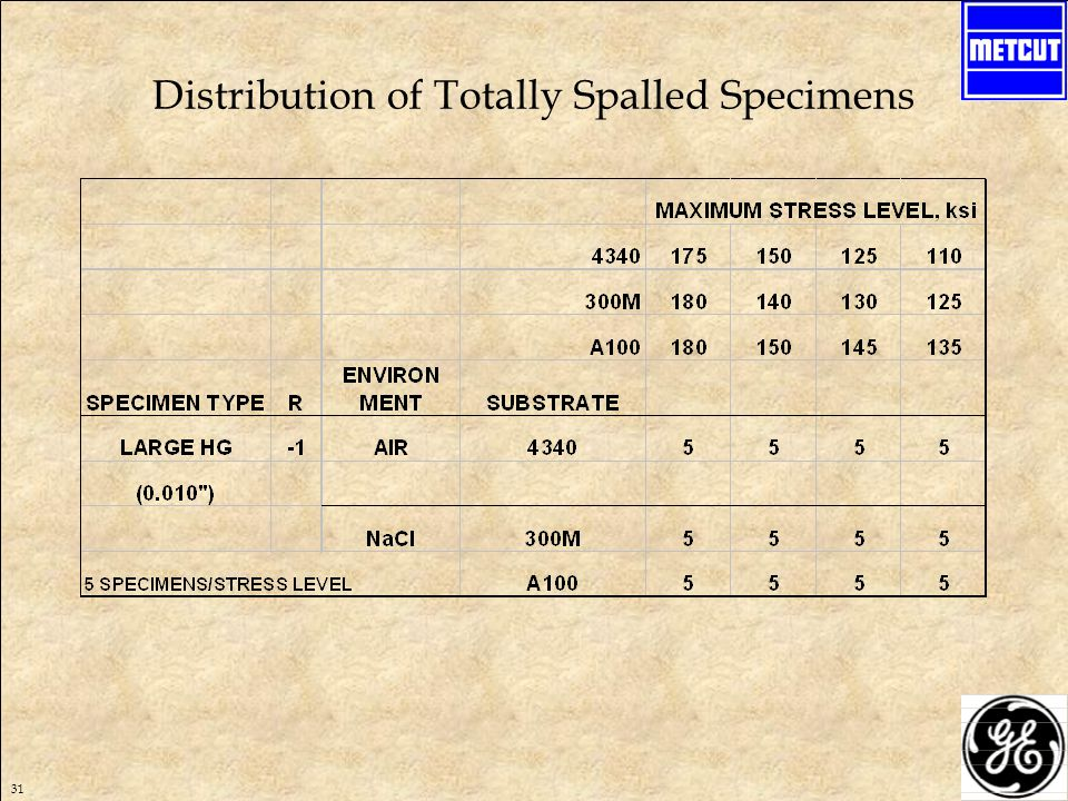 31 Distribution of Totally Spalled Specimens