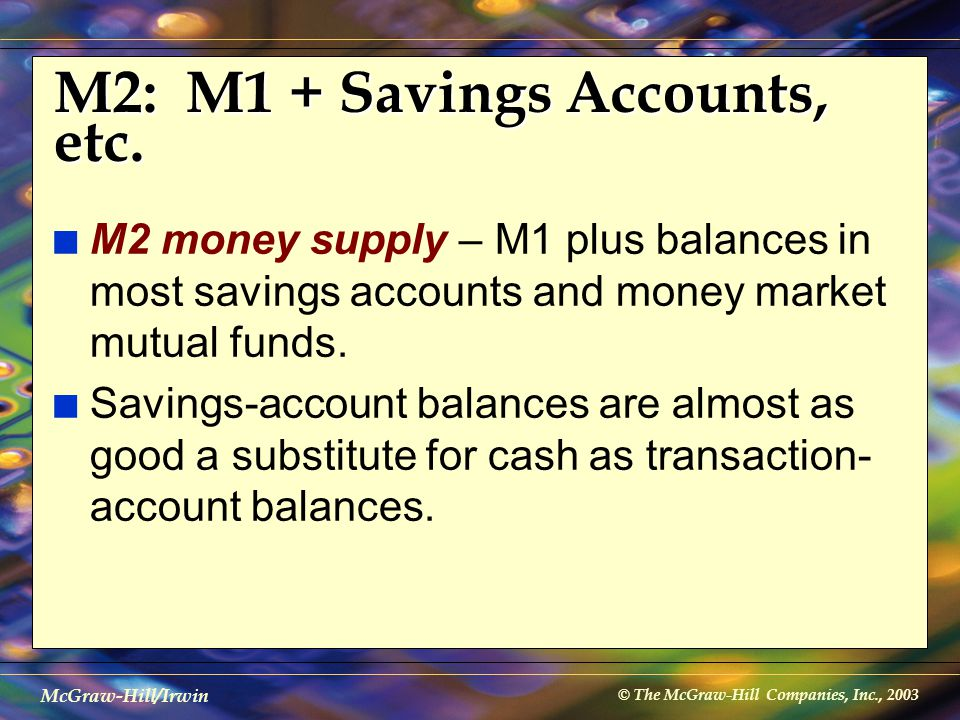 © The McGraw-Hill Companies, Inc., 2003 McGraw-Hill/Irwin M2: M1 + Savings Accounts, etc. n M2 money supply – M1 plus balances in most savings account