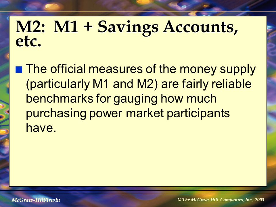 © The McGraw-Hill Companies, Inc., 2003 McGraw-Hill/Irwin M2: M1 + Savings Accounts, etc. n The official measures of the money supply (particularly M1