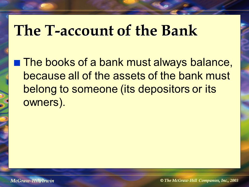 © The McGraw-Hill Companies, Inc., 2003 McGraw-Hill/Irwin The T-account of the Bank n The books of a bank must always balance, because all of the asse