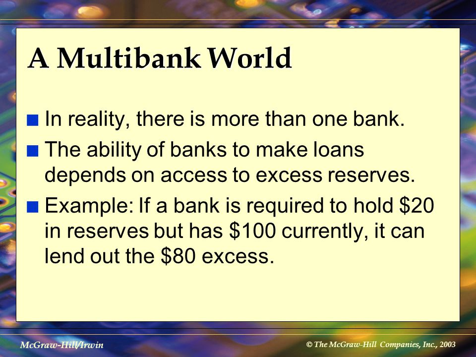 © The McGraw-Hill Companies, Inc., 2003 McGraw-Hill/Irwin A Multibank World n In reality, there is more than one bank. n The ability of banks to make