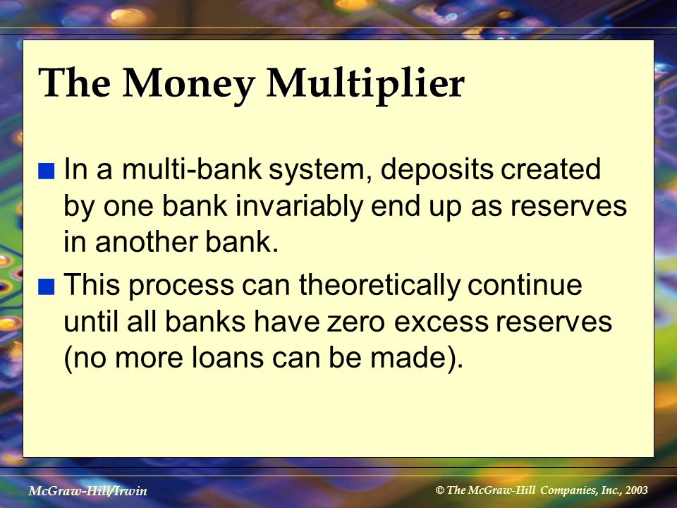 © The McGraw-Hill Companies, Inc., 2003 McGraw-Hill/Irwin The Money Multiplier n In a multi-bank system, deposits created by one bank invariably end u