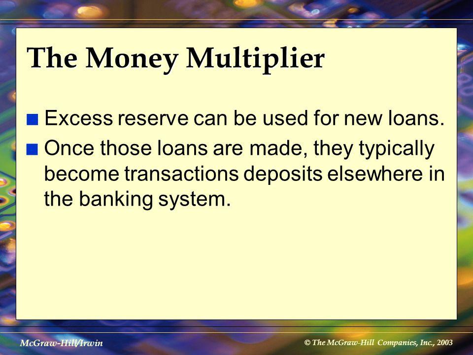 © The McGraw-Hill Companies, Inc., 2003 McGraw-Hill/Irwin The Money Multiplier n Excess reserve can be used for new loans. n Once those loans are made