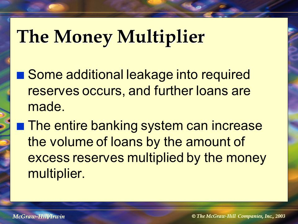 © The McGraw-Hill Companies, Inc., 2003 McGraw-Hill/Irwin The Money Multiplier n Some additional leakage into required reserves occurs, and further lo