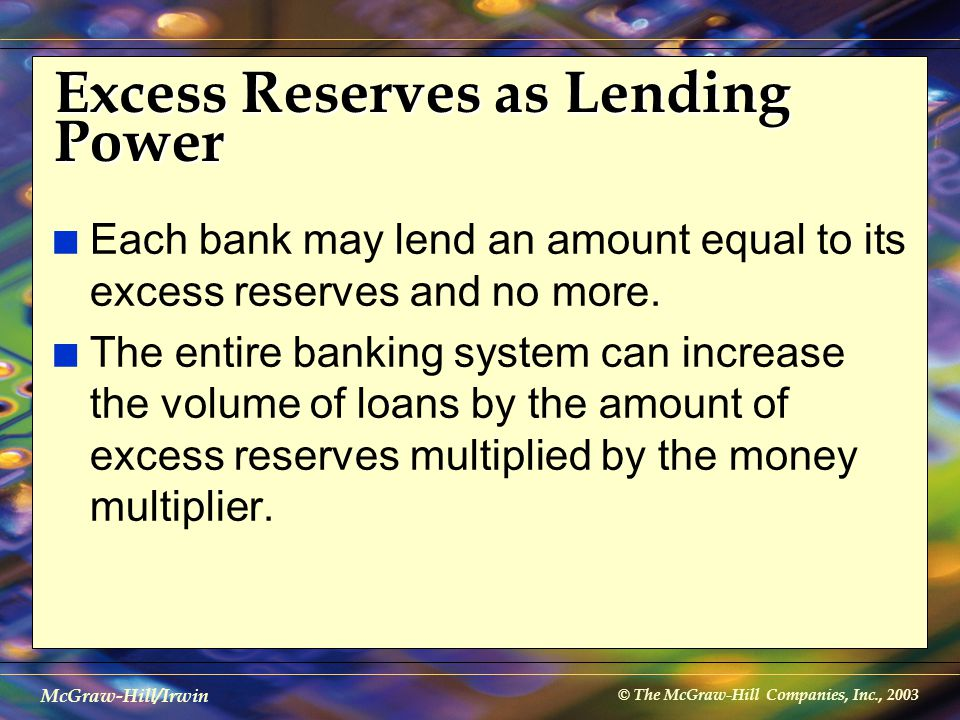 © The McGraw-Hill Companies, Inc., 2003 McGraw-Hill/Irwin Excess Reserves as Lending Power n Each bank may lend an amount equal to its excess reserves